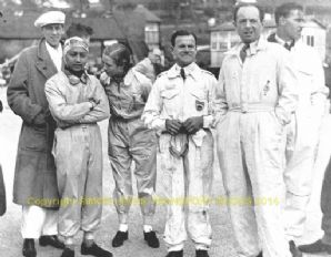 B Bira, Doreen Evans, Wilkie, Raymond Mays and others In Brooklands paddock c. 1938